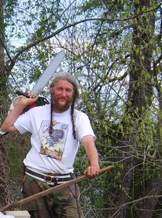 Eustace Conway with a saw
