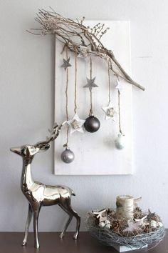 DIY Weihnachtsdeko und Bastelideen zu Weihnachten, skandinavische Deko, Äste schmücken mit Papierdeko und Lichterketten
