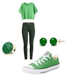 green love by danneh1 on Polyvore featuring polyvore, fashion, style, H&M, Converse and GREEN