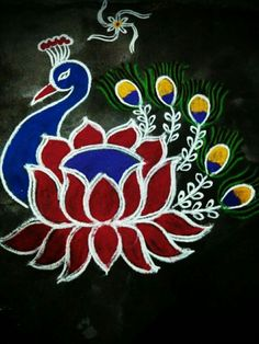 Rangoli Designs Peacock, Rangoli Designs Latest, Colorful Rangoli Designs, Rangoli Patterns, Rangoli Ideas, Rangoli Designs Diwali, Diwali Rangoli, Beautiful Rangoli Designs, Mehandi Designs