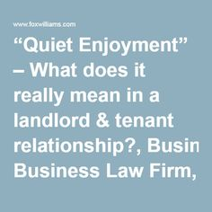 Real Property Law Quiet Enjoyment