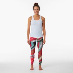 Love Hearts Leggings Red Yoga Leggings Gym Workout Printed Yoga Pants Boho Artwear Custom Print Women/'s Leggings