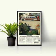 Ford Station Wagon  Vintage Ford Ad  Retro Car Design  Fairlane Station Wagon  Wood Grain Wagon  Blast From the Past  Men's Car Decor by RetroPapers