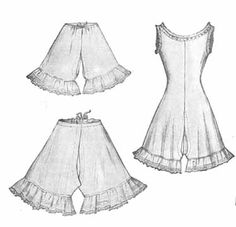 Drawers are worn over the corset (unless they are part of a combination chemise and drawers). The waist is fitted smoothly over the hips, with a drawstring or button at the waist. Legs are mid-calf length and flared, with fine lace trim and flat flounces at the hem.