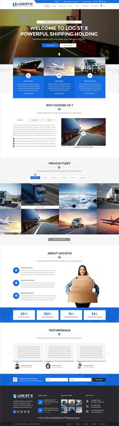Logistix is clean and modern design PSD #template for #cargo, #logistics and #transportation company website with 31 layered #PSDfiles to live preview & download click on image or Visit