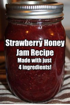 An incredible flavor made with just four ingredient… Strawberry Honey Jam Recipe. An incredible flavor made with just four ingredients – and no white sugar! Strawberry Jam Recipe With Honey, Strawberry Recipes, Strawberry Preserves, Strawberry Jelly, Homemade Strawberry Jam, Jelly Recipes, Honey Recipes, Home Canning, Canning Tips