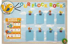 Great idea for using boho birds to display student work!