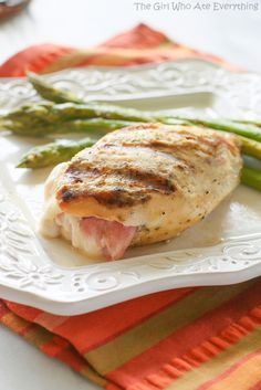 *omit honey // Grilled Chicken Cordon Bleu - grilling adds a smoky flavor that compliments the traditional flavors. {The Girl Who Ate Everything} Turkey Dishes, Turkey Recipes, Chicken Recipes, Recipe Chicken, Grilled Chicken Cordon Bleu Recipe, Grilling Recipes, Cooking Recipes, Sandwiches, Asian