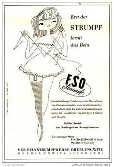 Original-Werbung/ Anzeige DDR 1958 - FSO STRÜMPFE / VEB FEINSTRUMPFWERKE OBERLUNGWITZ - ca. 120 x 160 mm