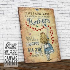 Alice in Wonderland Canvas Wall Art Print / Alice Bonkers Hearts Mad Hatter Quote / 20 x 30 Inch / Stretched on Frame Ready to Hang by GiraffeandCustard on Etsy