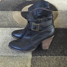 Mia buckle booties Mia buckle booties. Size 7.5. Approx 3 in heel. MIA Shoes Ankle Boots & Booties