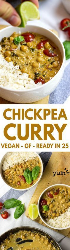Curry Vegan Chickpea Curry - An awesome animal friendly take on the insanely popular dish. It rocks! Vegan Chickpea Curry - An awesome animal friendly take on the insanely popular dish. It rocks! Veggie Recipes, Indian Food Recipes, Whole Food Recipes, Cooking Recipes, Cooking Time, Meal Recipes, Potato Recipes, Super Food Recipes, Vegan Indian Food