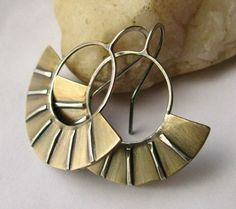 Contemporary Mixed Metal Earrings Egyptian Inspired Metalwork Jewelry Handcrafted Earrings. $58.00, via Etsy.