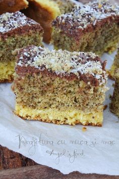 Angel's food: Prajitura cu nuca si mac Sweets Recipes, No Bake Desserts, Easy Desserts, Cake Recipes, Romanian Desserts, Romanian Food, Sweet Cakes, Diy Food, Coco