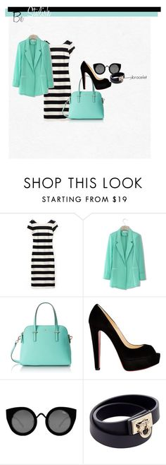 """""""stripe 3"""" by ajriyaf on Polyvore featuring Chicwish, Kate Spade, Christian Louboutin, Quay and Salvatore Ferragamo"""