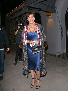 Kris Jenner Cocktail Dress - Kris Jenner vamped it up in a blue silk slip dress while enjoying a night out at Craig's.