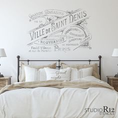 """Ville de Saint Denis Stencil - A stencil by the artists at StudioR12! Actual Cut Out Size of Artwork: STCL3254_1: 17.33"""" x 11.61"""" - (18"""" x 13"""") STCL3254_2: 21.46"""" x 14.38"""" - (22.5"""" x 16.25"""") Easy to use & reuse - quick, perfect letters & designs every time! From crafts to cakes, walls to weddings - elevate your"""