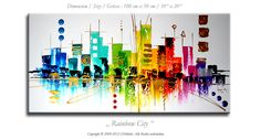 """Abstract painting 39"""" x 20"""" on canvas, modern contemporary art, artwork, decoration, color, skyline, city. $189.00, via Etsy."""
