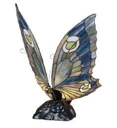 Butterfly Sculpture Lamp - Stained Glass - Bronze Base