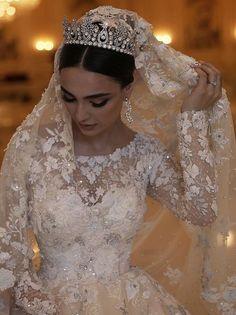 Image about fashion in Wedding 💍 by Lucian on We Heart It Arabic Wedding Dresses, Arab Wedding, Beautiful Wedding Gowns, Wedding Veils, Dream Wedding Dresses, Bridal Dresses, Lebanese Wedding Dress, Wedding Dress Accessories, Bridal Headpieces