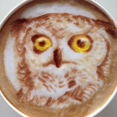 Owl - Nowtoo Sugi is another latte artist who posts images of his work on Instagram and Twitter. Most of the artist's latte masterpieces have a pop of color and range from beloved cartoon characters to highly detailed portraits of animals and people.