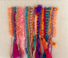 handwoven saori style tapestry hanging by Texturia on Etsy