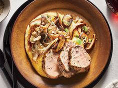 Feeding a crowd this season? This recipe's a cinch to double—simply brown the pork in batches, then proceed as directed. If you can't find instant polenta, regular is fine; start cooking it before you prep the pork so it's ready on time. Pork Mushroom, Portobello Mushroom Recipes, Cooking Light Recipes, Cooking For Two, Cooking Corn, Cooking Games, Cooking Turkey, Pork Recipes, Fall Recipes