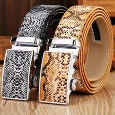 Snake design cowhide genuine leather automatic buckle strap
