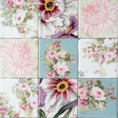 Decoupage fabric onto tiles and seal with resin