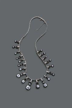 Old mine diamond fringe necklace circa 1880s