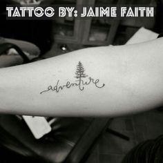 Adventure tree tattoo.   Lettering and pine tree silhouette.
