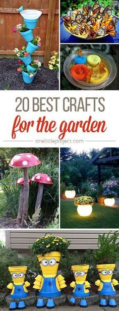 These garden crafts are SO FUN! From glow in the dark planters to DIY butterfly feeders, there are so many awesome craft ideas for the backyard!