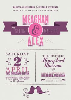 typographic and vintage inspired wedding invitation design for my girlfriend's sister.    printed on 14pt ultra thick matte paper