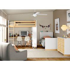 Room & Board - Moda Loft Bed with Middle Desk and One Four-Drawer Dresser Modern Kids Furniture, Modern Kids Bedroom, Modern Bunk Beds, Kids Bedroom Furniture, Loft Beds, Bedroom Kids, Furniture Board, Furniture Websites, Inexpensive Furniture