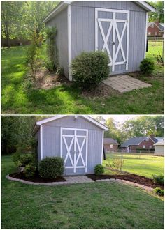 Landscaping around the shed