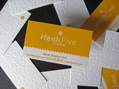 The texture is absolutely luscious (can I say that word on Pinterest???).    Yellow-White-Letterpress-Business-Card