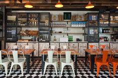www.jodhpurtrends.com #restaurantfurniture Floor, table/chair combo, open shelving-ideas for future breakfast room!