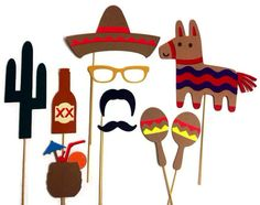 Photo Booth Props 10 Piece Cinco de Mayo Set by CraftingbyDenise, $30.00