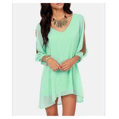 European Mini Chiffon A Shape Dress Fasionable matcha green