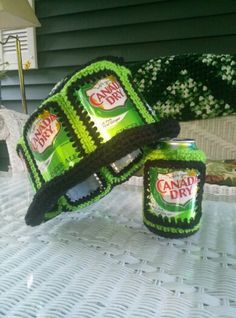 Retro Sods/Beer Can Hat with matching Coozie