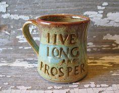 Live Long and Prosper Mug - Handmade Pottery Mug - Star Trek Inspired - Nimoy - Spock