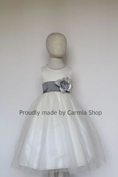 Flower Girl Dresses IVORY with Pewter Mercury Gray by carmiashop, $22.99 Meggie: sash comes in your blue color