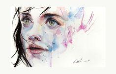 little girl child art portrait watercolor painting face ink spill splatter dribble drip face design