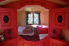 Glamping in Ploemel (Morbihan - in Brittany Glamping, Gypsy Wagon Interior, Gypsy Caravan, Vintage Travel Trailers, House On Wheels, Location, The Ordinary, Alcove, Accent Decor