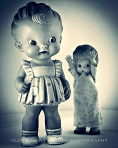 SALE  old dolls - happy fun art - 20% off - art photo 8x10 - art to make you smile -  'Boo doll' and a kewpie