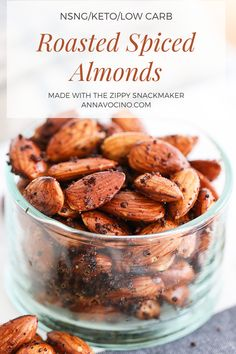 This is a low carb, NSNG, keto recipe for Roasted Spiced Almonds with no sugar added, using the Zippy Snackmaker. Spiced Almonds, Raw Almonds, New Recipes, Snack Recipes, Cooking Recipes, Vegan Snacks, Vegetarian Recipes, Recipies, Roasted Nuts