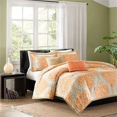 Senna is the perfect way to make a fashion statement in your bedroom. The vibrant orange and taupe damask print adds a pop of color to this comforter. An orange printed pillow and a taupe pillow make up the two decorative pillows included in this comforter set.