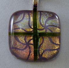 Iridescent Dichroic Glass Pendant by ZacInTheBoxCreations on Etsy