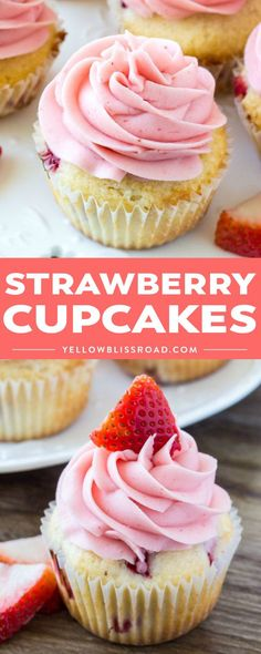 Strawberry Cupcakes are moist, fluffy and perfect for #spring and #summer. They start with delicious buttery vanilla #cupcakes filled with chopped strawberries, then they're topped with creamy #strawberry frosting! #dessert #fruit | Posted By: DebbieNet.com