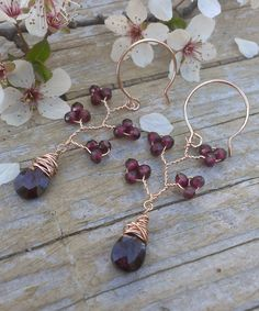 Vine Collection Garnet & Rose Gold Filled Earrings by gotsparkles, $79.00